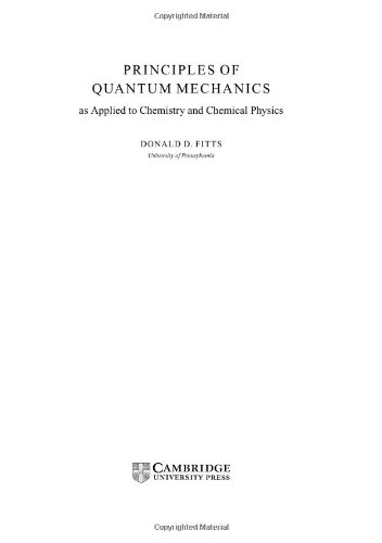 9780521651240: Principles of Quantum Mechanics: As Applied to Chemistry and Chemical Physics
