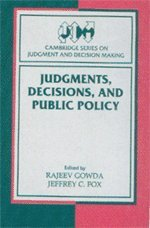 9780521660846: Judgments, Decisions, and Public Policy (Cambridge Series on Judgment and Decision Making)