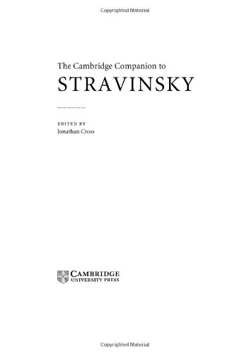 9780521663304: The Cambridge Companion to Stravinsky (Cambridge Companions to Music)