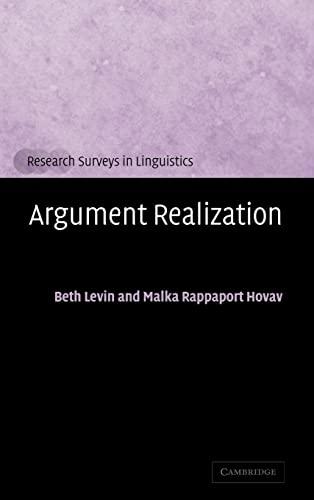 9780521663311: Argument Realization Hardback (Research Surveys in Linguistics)