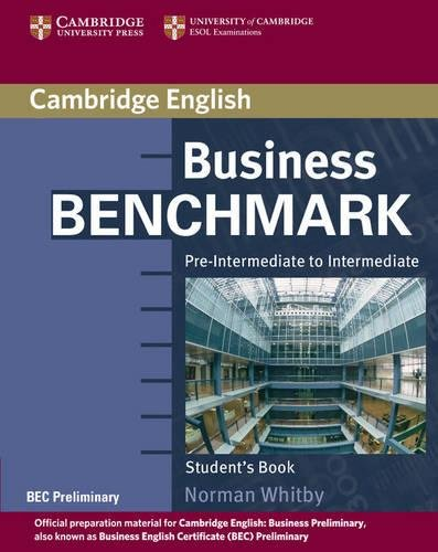 9780521671170: Business Benchmark Pre-Intermediate to Intermediate Student's Book BEC Preliminary Edition