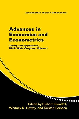 9780521692083: 1: Advances in Economics and Econometrics: Theory and Applications, Ninth World Congress (Econometric Society Monographs) (Volume 1)