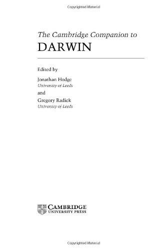 9780521771979: The Cambridge Companion to Darwin (Cambridge Companions to Philosophy)
