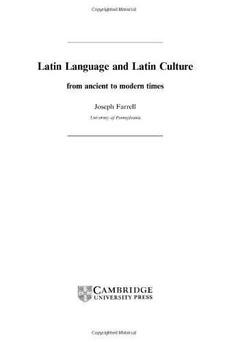 9780521772235: Latin Language and Latin Culture: From Ancient to Modern Times