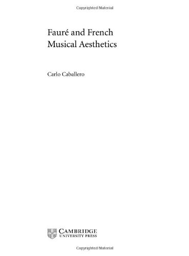 9780521781077: Fauré and French Musical Aesthetics (Music in the Twentieth Century)