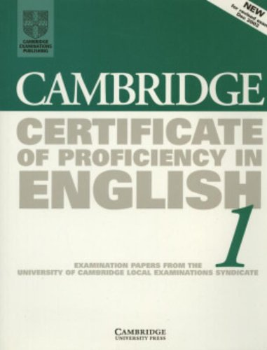 9780521799935: Cambridge Certificate of Proficiency in English 1 Student's Book: Examination papers from the University of Cambridge Local Examinations Syndicate