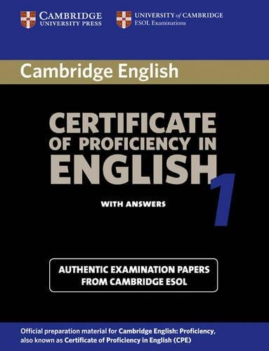 9780521799942: Cambridge Certificate of Proficiency in English 1 Student's Book with Answers: Examination papers from the University of Cambridge Local Examinations Syndicate