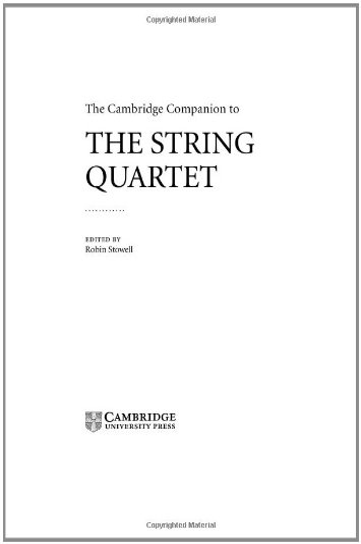 9780521801942: The Cambridge Companion to the String Quartet Hardback (Cambridge Companions to Music)
