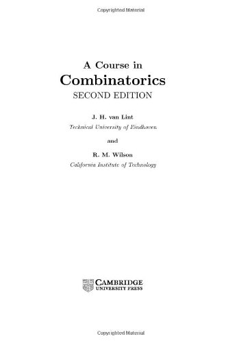 9780521803403: A Course in Combinatorics