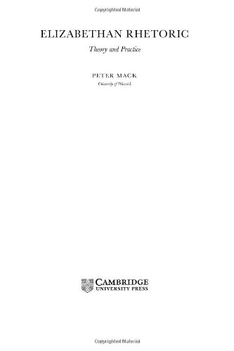 9780521812924: Elizabethan Rhetoric: Theory and Practice (Ideas in Context)