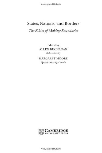 9780521819718: States, Nations and Borders: The Ethics of Making Boundaries (Ethikon Series in Comparative Ethics (Hardcover))
