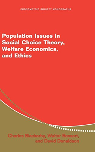 9780521825511: Population Issues in Social Choice Theory, Welfare Economics, and Ethics (Econometric Society Monographs)