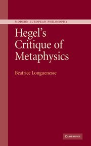 9780521844666: Hegel's Critique of Metaphysics
