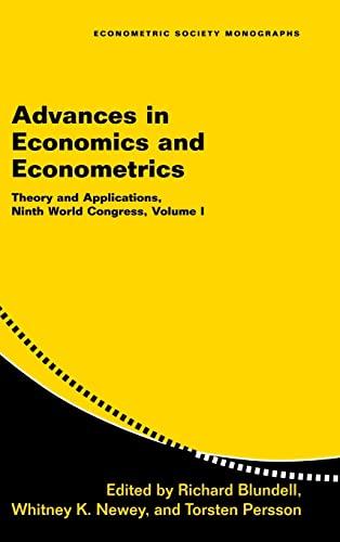 9780521871525: Advances in Economics and Econometrics: Volume 1: Theory and Applications, Ninth World Congress (Econometric Society Monographs)