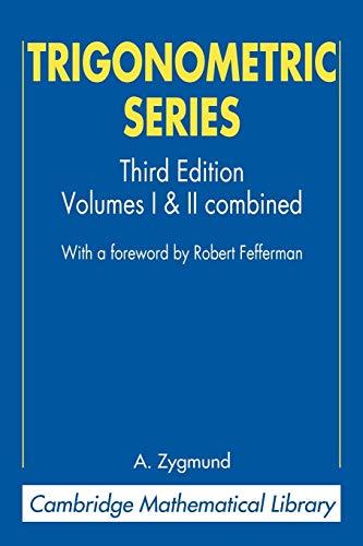 9780521890533: Trigonometric Series (Cambridge Mathematical Library)
