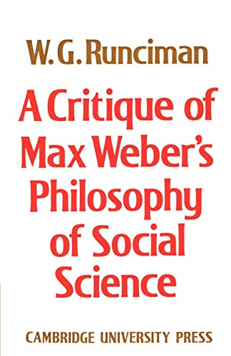 9780521892759: A Critique of Max Weber's Philosophy of Social Science