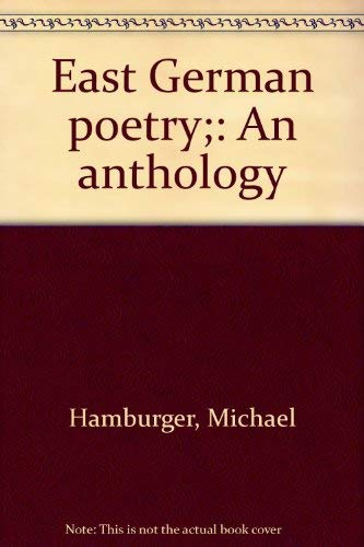 9780525096689: East German poetry;: An anthology