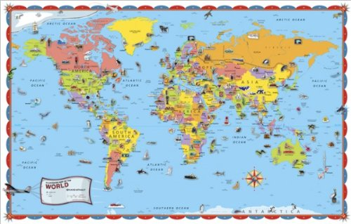 9780528005213: Rand McNally Kids Illustrated World Wall Map