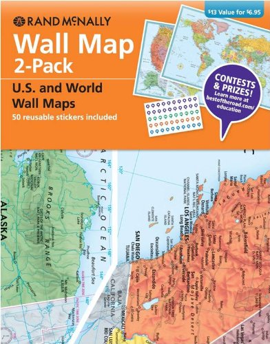 Wall Map 2-Pack W/Stickers: Rand McNally