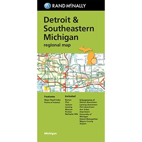 9780528007989: Rand McNally Detroit & Southeastern Michigan Regional Map