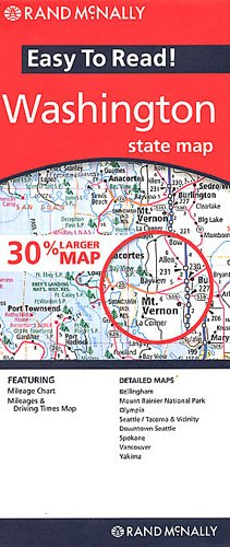 9780528868573: Rand McNally Easy to Read! Washington State Map: Bellingham, Mount Rainier National Park, Olympia, Seattle/Tacoma & Vicinity, Downtown Seattle, Spokan