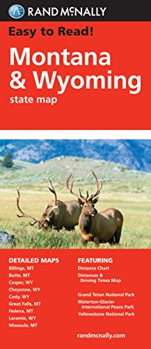 9780528881817: Rand McNally Easy to Read Montana/ Wyoming State Map