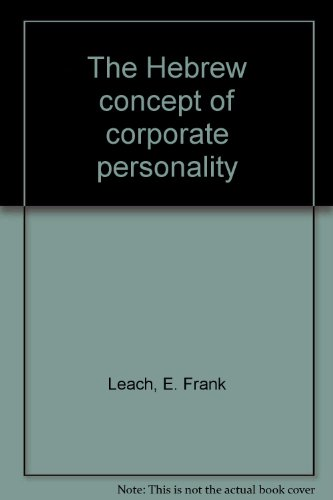 9780533009725: The Hebrew concept of corporate personality