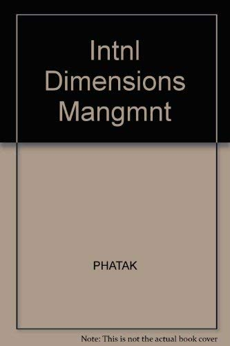 9780534013172: Intnl Dimensions Mangmnt (The Kent international business series)
