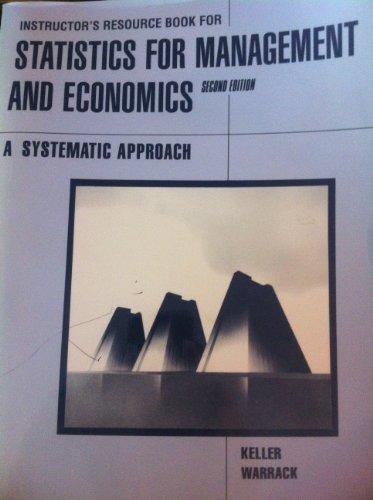 Instructor's Resource Book for Statistics for Management: Keller, Gerald, Warrack,