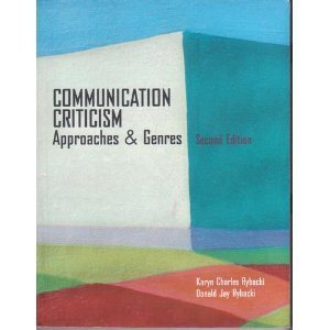 9780534141189: Communication Criticism: Approaches and Genres