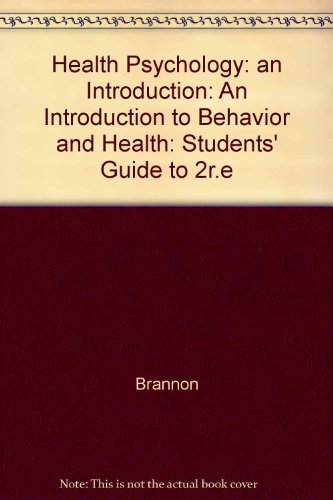 9780534165383: Health Psychology: An Introduction to Behavior and Health