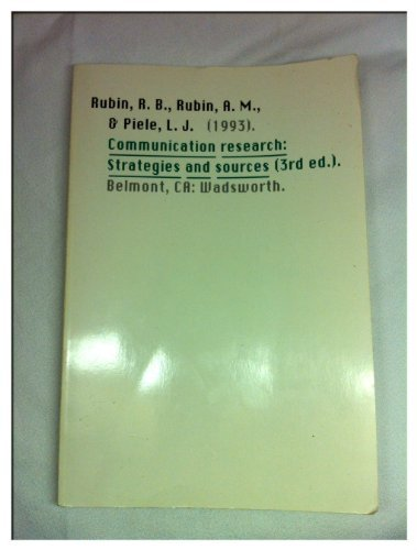 9780534178628: Communication Research: Strategies and Sources