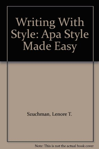 9780534364106: Writing With Style: Apa Style Made Easy