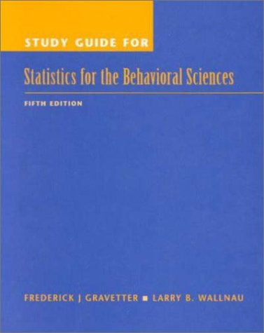 9780534370817: Study Guide for Statistics for the Behavioral Sciences