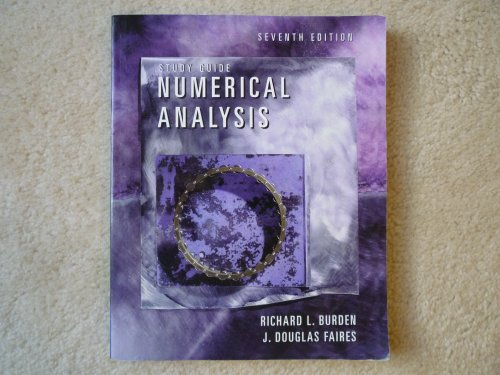 9780534382179: Student Study Guide for Burden/Faires Numerical Analysis (Mathematics Series)