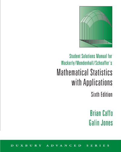 9780534382360: Student Solutions Manual for Wackerly/Mendenhall/Scheaffer's Mathematical Statistics with Applications, 6th