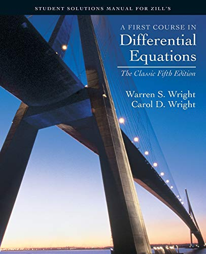 9780534382803: A First course in Differential Equations: Student Solution Manual for Zill's Classic Fifth Ed.