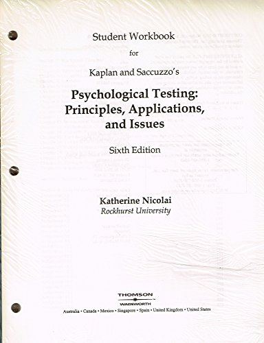 9780534633080: Student Workbook for Kaplan and Saccuzzo's Psychological Testing: Principles, Applications and Issues