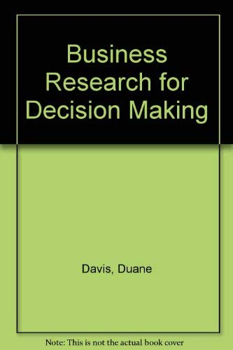 9780534872137: Business Research for Decision Making (Kent series in marketing)