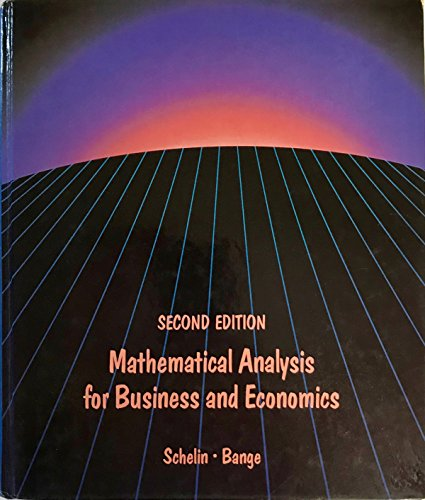 9780534914936: Mathematical Analysis for Business and