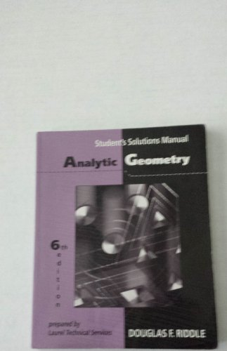 9780534948559: Analytic Geometry Student Solutions Manual
