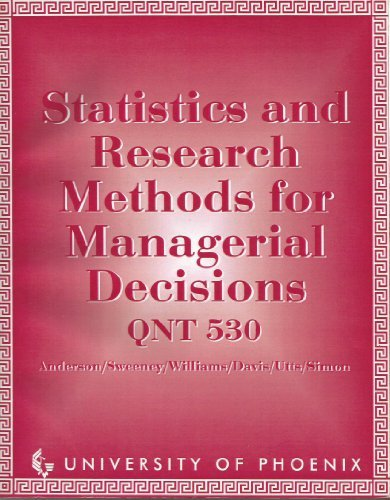 9780534976811: Statistics and Research Methods for Managerial Decisions : QNT 530 -