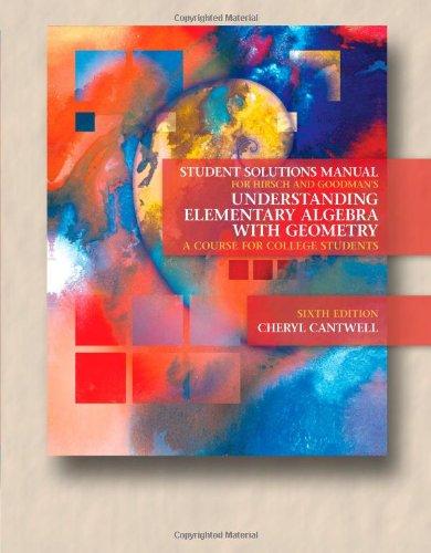 Student Solutions Manual for Hirsch/Goodman's Understanding Elementary: Lewis R. Hirsch,