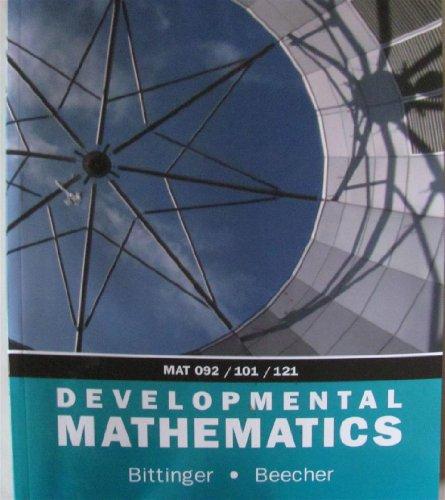 9780536388957: Developmental Mathematics MAT 092/101/121 Custom Edition