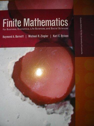 9780536429377: Finite Mathematics Custom Edition for University of Louisville (For Business, Economics, Life Scienc