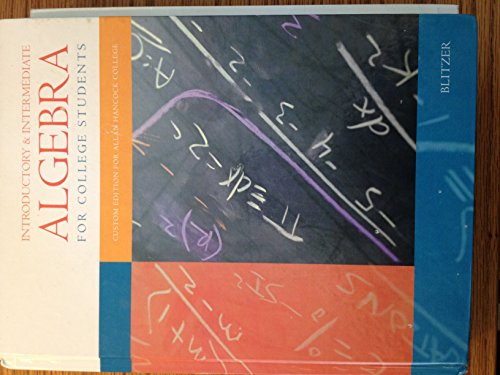 9780536454072: Introductory & Intermediate Algebra for College Students (Custom Edition for Allan Hancock College)