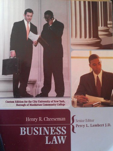 9780536490117: Business Law By Henry R. Cheeseman (Percy J. Lambert J.D.)