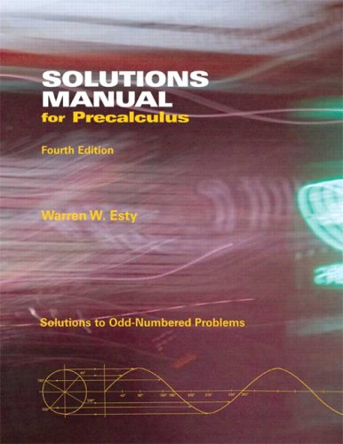 9780536503466: Solutions Manual for Precalculus (4th Edition)