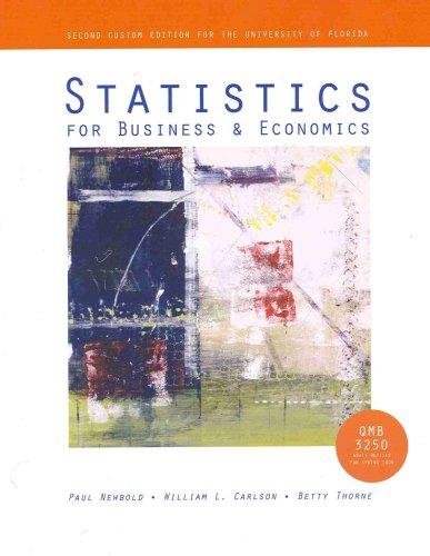 9780536518781: Statistics for Business & Economics (QMB3250, University of Florida)