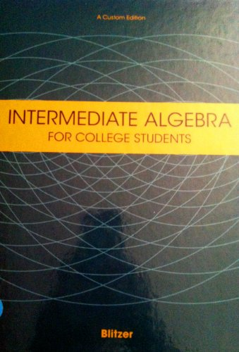 9780536698230: Intermediate Algebra (For Cabrillo College Students Math 152)